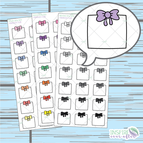 Bow Box Doodle ~ Pastel, Bright OR Neutral ~ Hand Drawn Hobonichi Functionals ~ Planner Stickers