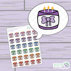 Bow Candles ~ Hand Drawn Petite Collection ~ Planner Stickers