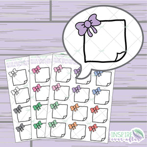 Bow Folded Note ~ Pastel, Bright OR Neutral ~ Hand Drawn Petite Collection ~ Planner Stickers
