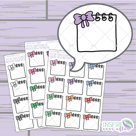 Bow Notebook ~ Pastel, Bright OR Neutral ~ Hand Drawn Petite Collection ~ Planner Stickers