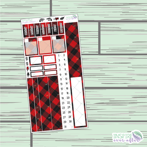 Buffalo Plaid PPWeeks Monthly Kit ~ Hand Drawn Functional Planner Stickers