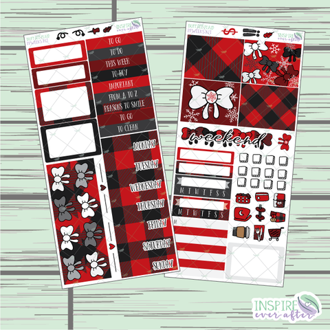 Buffalo Plaid PPWeeks Weekly Kit ~ Hand Drawn Functional Planner Stickers