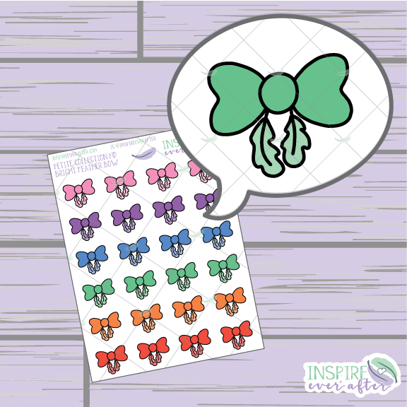 Bright Feather Bows ~ Hand Drawn Petite Collection ~ Planner Stickers