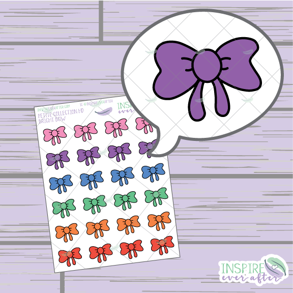Bright Bows ~ Hand Drawn Petite Collection ~ Planner Stickers