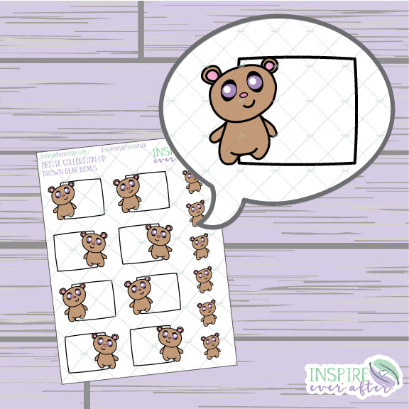 Brown Bear Box ~ Hand Drawn Petite Collection ~ Planner Stickers