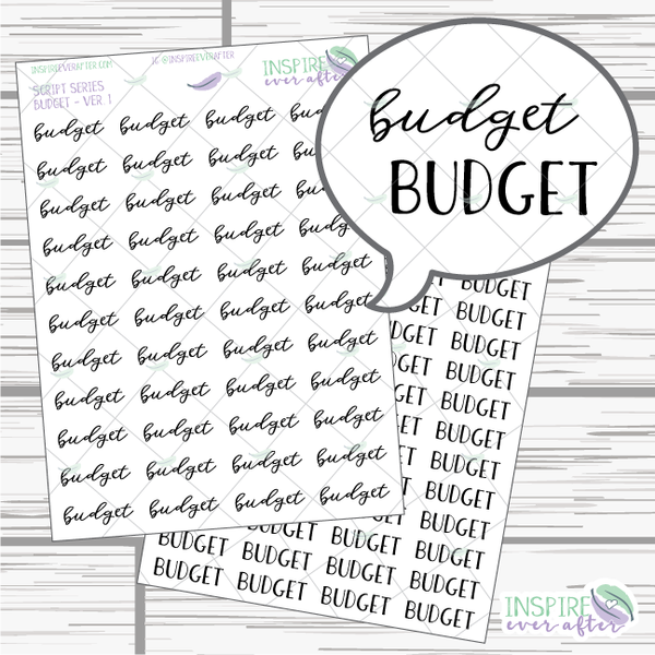 Budget ~ Script OR Print ~ Script Series ~ Planner Stickers