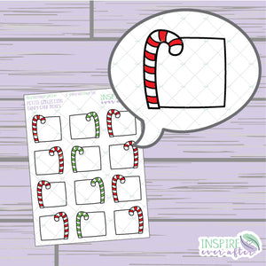 Candy Cane Boxes ~ Hand Drawn Holiday Deco ~ Petite Collection ~ Planner Stickers