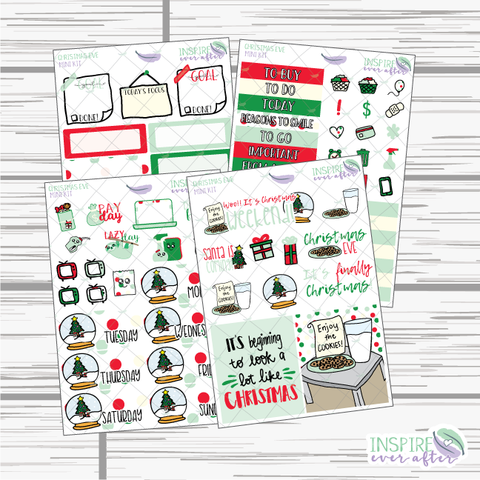 Christmas Eve Mini Weekly Kit ~ Hand Drawn Planner Stickers