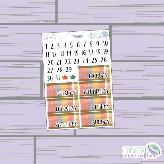 Crisp Fall Morning Flannel Date Covers ~ Planner Stickers