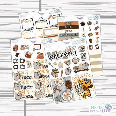 Chai Latte Mini Weekly Kit ~ Hand Drawn Planner Stickers