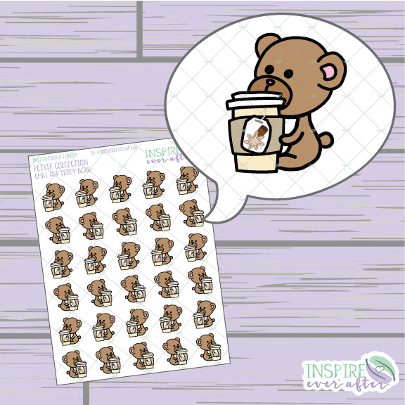 Chai Tea Teddy Bear ~ Hand Drawn Petite Collection ~ Planner Stickers
