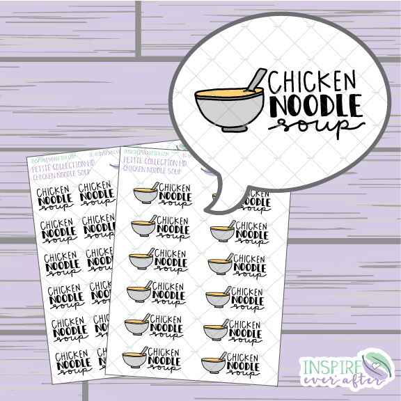 Chicken Noodle Soup ~ Hand Drawn Food ~ Petite Collection ~ Planner Stickers