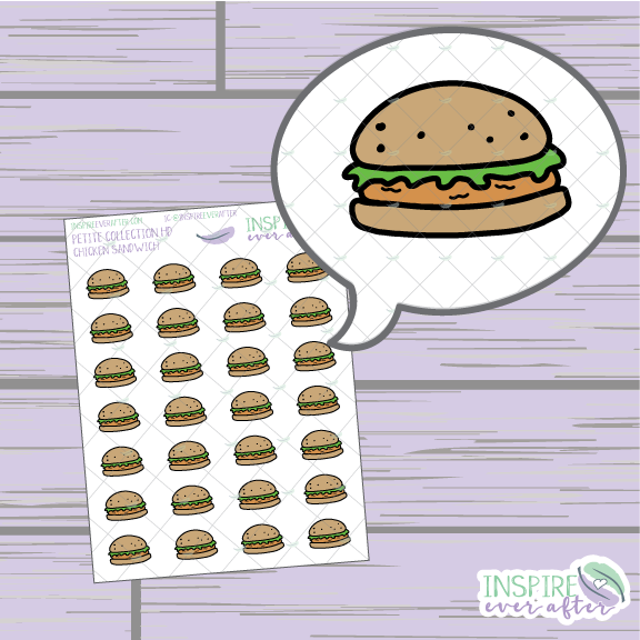 Chicken Sandwich ~ Hand Drawn Food ~ Petite Collection ~ Planner Stickers
