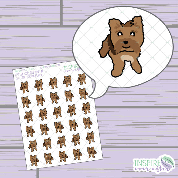 Chillin' Yorkie Puppy ~ Hand Drawn Petite Collection ~ Planner Stickers