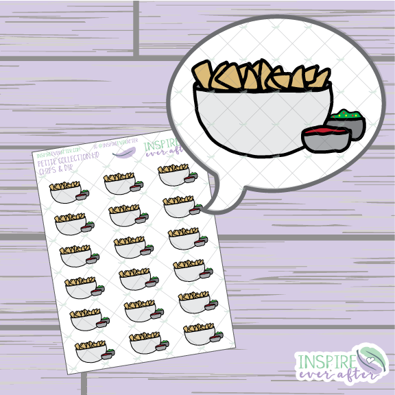Chips and Dip Icon ~ Hand Drawn Petite Collection ~ Planner Stickers