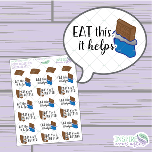 Chocolate Helps ~ Hand Drawn Petite Collection ~ Planner Stickers