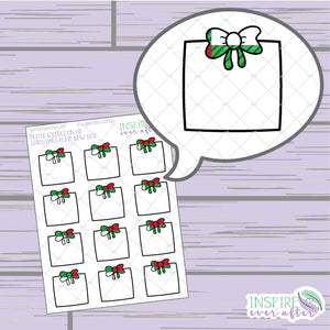 Christmas Plaid Bow Box ~ Hand Drawn Functional Petite Collection ~ Planner Stickers