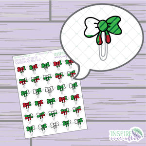 Christmas Plaid Bow Clip ~ Hand Drawn Functional Petite Collection ~ Planner Stickers