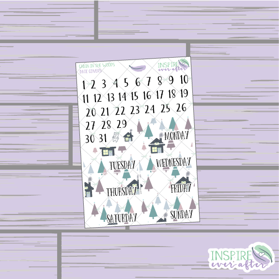 Cabin In The Woods Date Cover ~ Planner Stickers