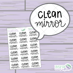 Clean Mirror ~ Hand Lettered Petite Collection ~ Planner Stickers