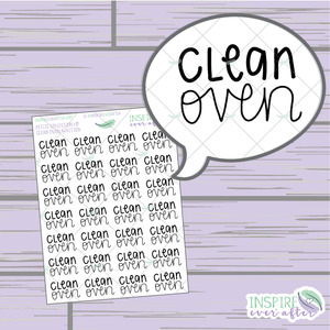 Clean Oven ~ Hand Lettered Petite Collection ~ Planner Stickers