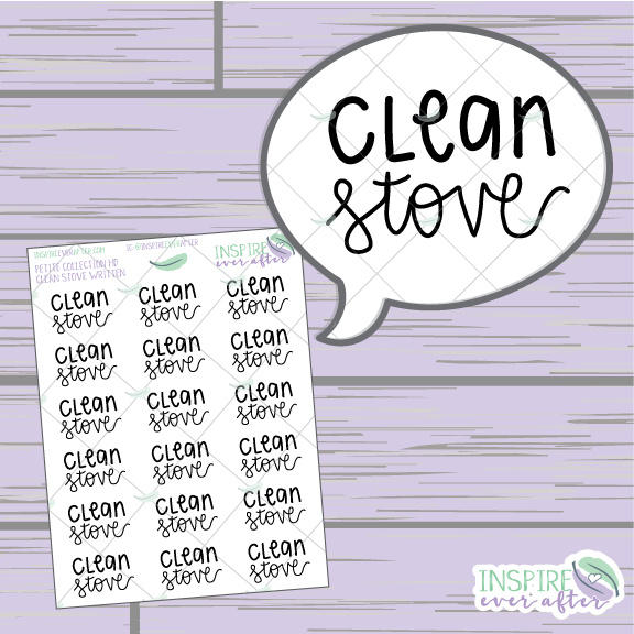 Clean Stove ~ Hand Lettered Petite Collection ~ Planner Stickers