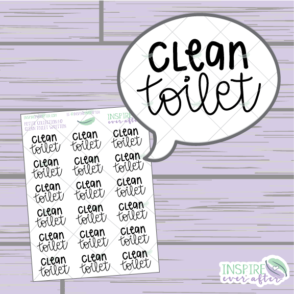 Clean Toilet ~ Hand Lettered Petite Collection ~ Planner Stickers