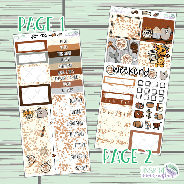 Chai Latte PPWeeks Weekly Kit ~ Hand Drawn Functional Planner Stickers