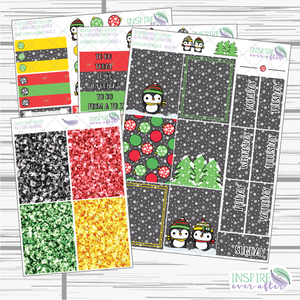 Christmas Night ~ Hand Drawn Slim Weekly Kit ~ Planner Stickers