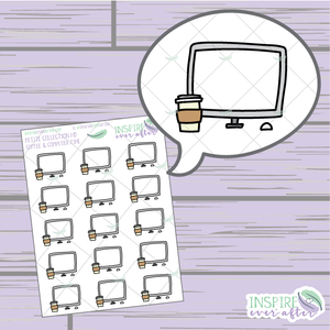 Coffee & Computer Time ~ Hand Drawn Petite Collection ~ Planner Stickers