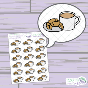 Croissants & Coffee ~ Hand Drawn Food ~ Petite Collection ~ Planner Stickers