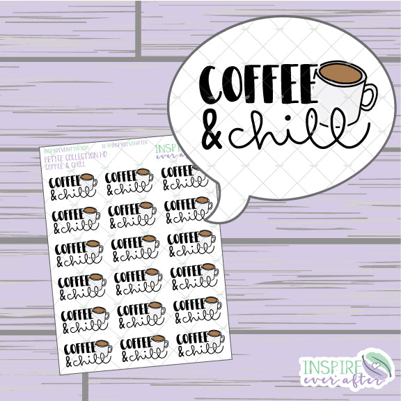 Coffee & Chill ~ Hand Drawn Petite Collection ~ Planner Stickers