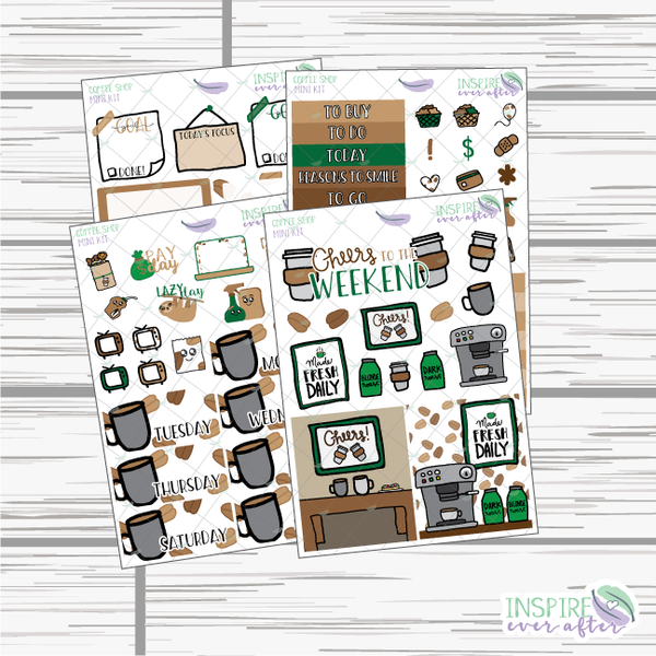 Coffee Shop Mini Weekly Kit ~ Hand Drawn Planner Stickers