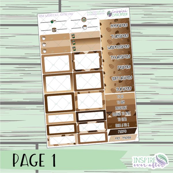 Coffee Love PPB6 Weekly Kit ~ Hand Drawn Functional Planner Stickers