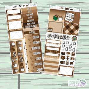 Coffee Love PPWeeks Weekly Kit ~ Hand Drawn Functional Planner Stickers