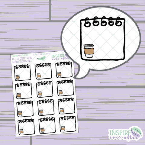 Coffee Notebook ~ Hand Drawn Spiral Notebook ~ Petite Collection ~ Planner Stickers