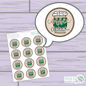 It's Coffee O' Clock: Hot Coffee ~ Hand Drawn Beverage Icons ~ Petite Collection ~ Planner Stickers