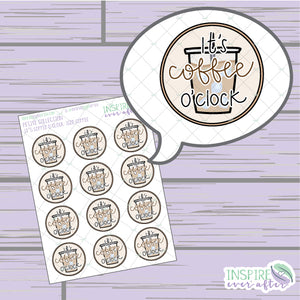 It's Coffee O' Clock: Iced Coffee ~ Hand Drawn Beverage Icons ~ Petite Collection ~ Planner Stickers