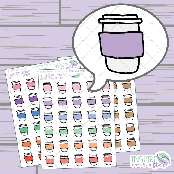 Coffee/Tea Travel Cups ~ Hand Drawn Petite Collection ~ Planner Stickers
