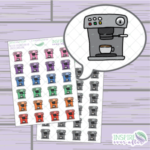 Coffee Machine ~ Hand Drawn Petite Collection ~ Planner Stickers