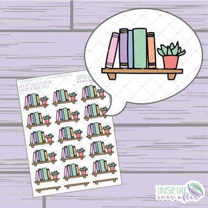 Colorful Book Shelf ~ Hand Drawn Petite Collection ~ Planner Stickers