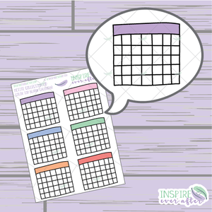 Color Top Month Calendar/ Habit Tracker ~ Hand Drawn Petite Collection ~ Planner Stickers