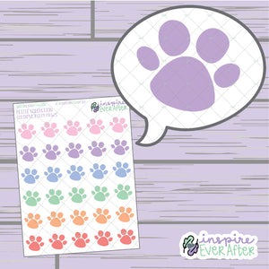 Colorful Kitty Paw ~ Hand Drawn Cat/ Pet ~ Petite Collection ~ Planner Stickers