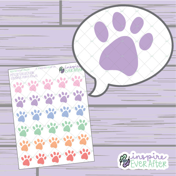 Colorful Puppy Paw ~ Hand Drawn Dog/ Pet ~ Petite Collection ~ Planner Stickers