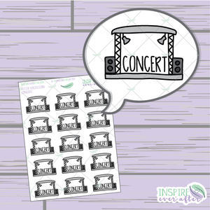 Concert Doodle ~ Hand Drawn Petite Collection ~ Planner Stickers