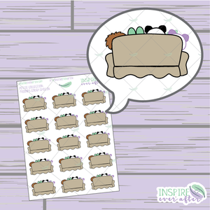 Friends Couch Chillin' ~ Hand Drawn Petite Collection ~ Planner Stickers