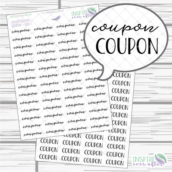 Coupon ~ Script OR Print ~ Script Series ~ Planner Stickers