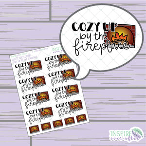 Cozy Up By The Fireplace  ~ Hand Drawn Winter Deco ~ Petite Collection ~ Planner Stickers