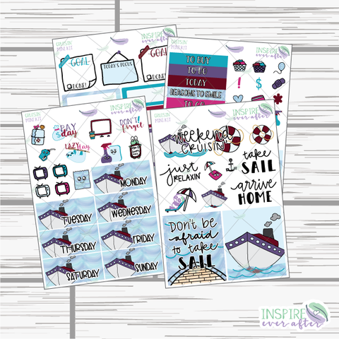 Cruisin' Mini Weekly Kit ~ Hand Drawn Planner Stickers