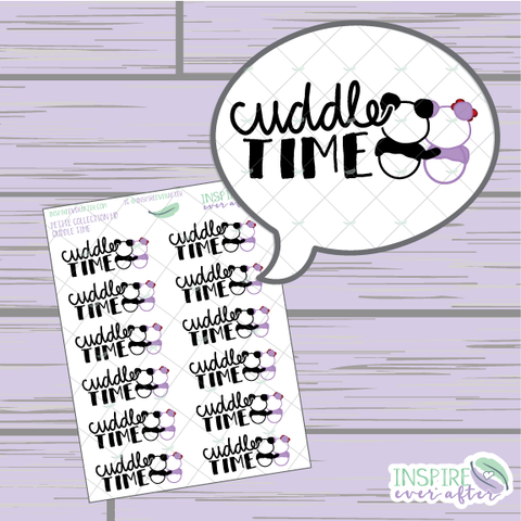 Stevie & Lila the Pandas Cuddle Time ~ Hand Drawn Petite Collection ~ Planner Stickers
